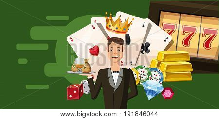 Casino croupier horizontal banner concept. Cartoon illustration of casino croupier vector horizontal banner for web