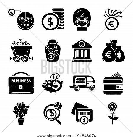 Business icons set. simple illustration of 16 business vector icons for web