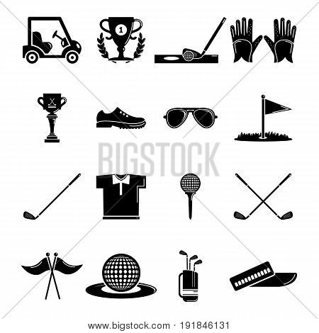 Golf icons set symbols. Simple illustration of 16 golf symbols vector icons for web