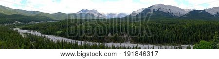 View over valley looking at Threepoint Mountain In Kananaskis,Alberta,Canada.
