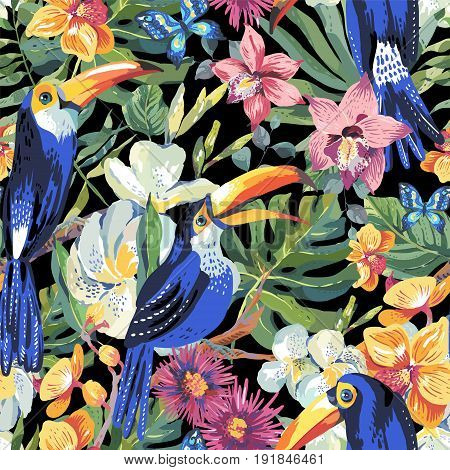 Vector tropical summer seamless pattern with toucan, butterflies, exotic flowers and leaves. Natural floral illustration.