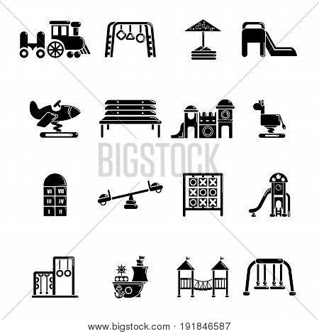 Playground equipment icons set. Simple illustration of 16 playground equipment vector icons for web
