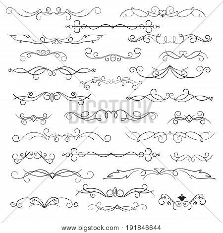Decorative elements and calligraphic workpiece. Decorative monograms and calligraphic borders. Classic design elements for wedding invitations. Set isolated on white background.