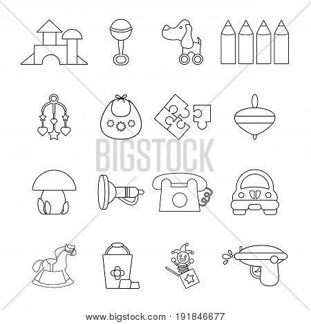 Kindergarten tools icons set. Outline illustration of 16 kindergarten vector icons for web