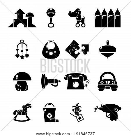 Kindergarten tools icons set. Simple illustration of 16 kindergarten vector icons for web