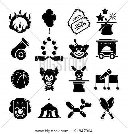 Circus icons set. Simple illustration of 16 circus vector icons for web