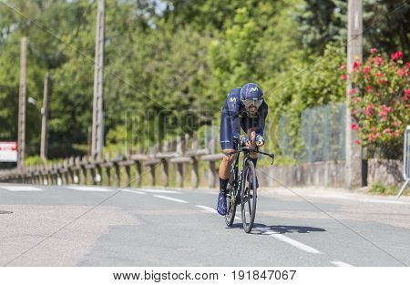 Bourgoin-Jallieu France - 07 June 2017: The Spanish cyclist Alejandro Valverde of Movistar Team riding during the time trial stage 4 of Criterium du Dauphine 2017. Valverde is a strong contender for the final podium of the race.