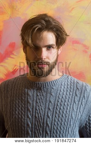 man or bearded macho with beard moustache and blond hair stylish haircut posing in grey sweater on colorful abstract background. Beauty salon and barber shop