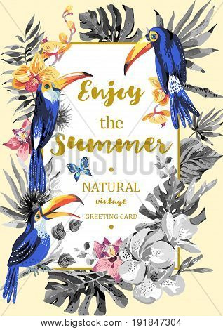 Tropical summer exotic vertical frame. Greeting card with toucan, butterflies, exotic flowers and leaves. Natural illustration. Vector nature vintage Invitation