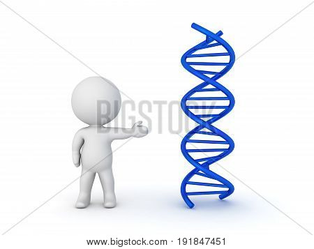 3D Character Pointing Towards Dna Double Helix