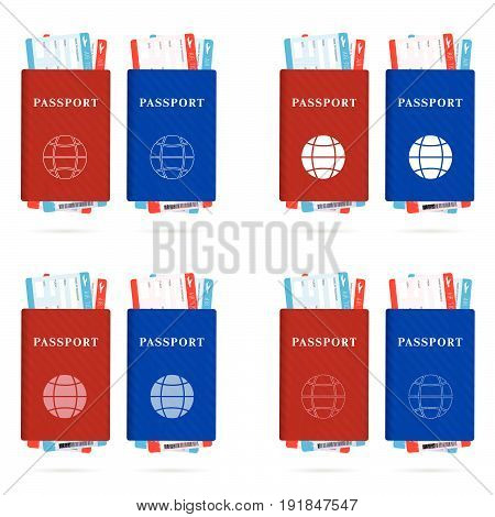 Passport Red And Blue With Ticket Different And Globe