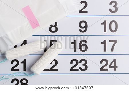 Menstrual Calendar With Tampons And Pads. Menstruation Time. Hygiene And Protection