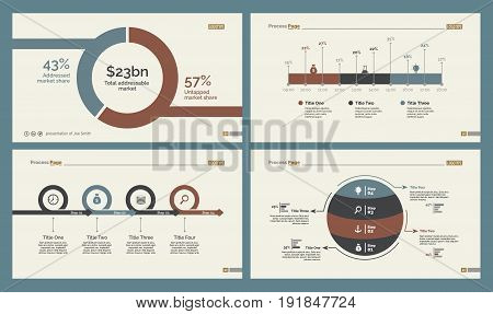 Infographic design set can be used for workflow layout, diagram, annual report, presentation, web design. Business and planning concept with process, timing and percentage charts.