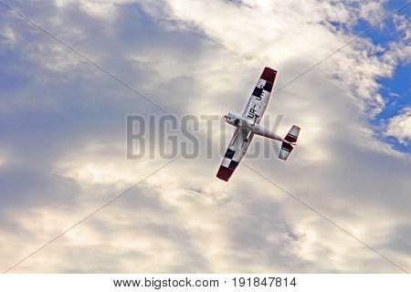 KAMIANETS-PODIILSKYI, UKRAINE - MAY 20, 2017: Aircraft Cessna 182 K Skylane UR-LUC by Mechanic-Avia in the sky