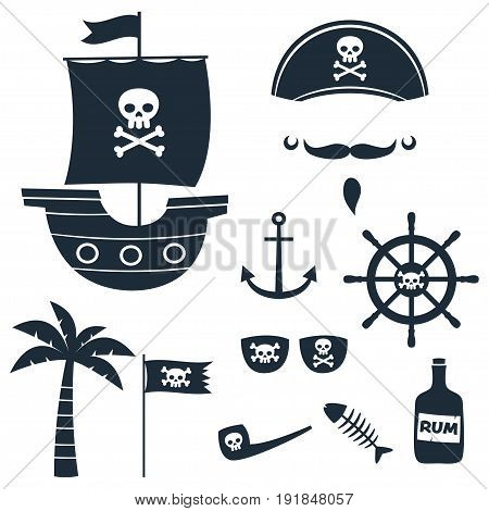 Pirate theme silhouettes set (ship, hat, flag, palm tree, steering wheel)