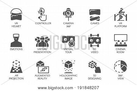 Big set of 15 icons in flat style of augmented reality digital AR technology. Futuristic technology concept. Vector labels isolated on a white background. Black VR symbols