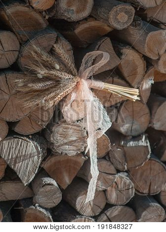 Bunch of spikes on a wooden background, Rustic style.
