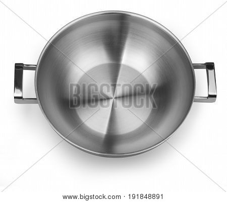 Steel frying pan isolated on white background. Top view with clipping path