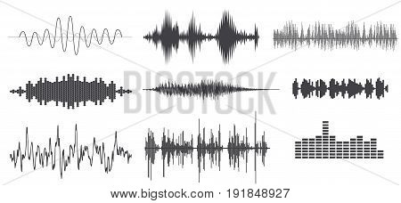 Vector sound waves set. Audio Player. Audio equalizer technology, pulse musical.