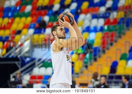 MOSCOW - APR 7, 2017: Player prepares to throw at basketball game Euroleague CSKA Moscow (Russia) - Olympiakos (Greece) in Megasport stadium