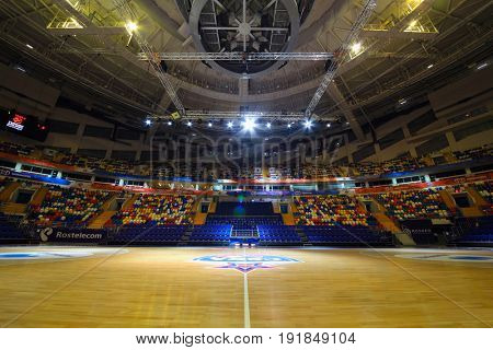 MOSCOW - APR 7, 2017: Empty modern basketball court in Megasport stadium, construction of the stadium was completed in 2006, number of seats is 14 thousand