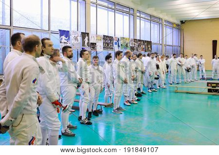 MOSCOW - APR 22, 2017: Participants at Spring Fencing Tournament in club En Garde, En Garde club was founded in 1997 in Department of Fencing of University of Physical Culture, Sports