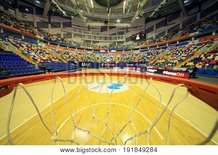 MOSCOW - APR 7, 2017: Inside basketball ring in Megasport stadium, construction of the stadium was completed in 2006, number of seats is 14 thousand