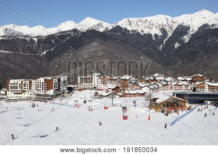 KRASNAYA POLYANA, SOCHI, RUSSIA - MAR 5, 2017: Rosa Khutor ski resort among mountains, In February 2014 the resort became the venue for the XXII Winter Olympic Games