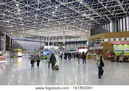 SOCHI, RUSSIA - MAR 4, 2017: People in Sochi Airport, airport ranks 5th in Russia in passenger turnover (5,263 million passengers)