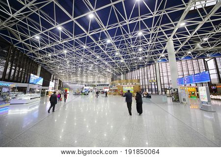 SOCHI, RUSSIA - MAR 4, 2017: People in hall of Sochi Airport, airport ranks 5th in Russia in passenger turnover (5,263 million passengers)