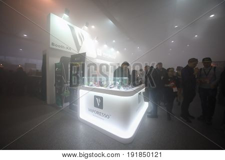 MOSCOW - DEC 10, 2016: Bar at Vapexpo MOSCOW - international exhibition and conference of VAPE-industry in Sokolniki Exhibition Center