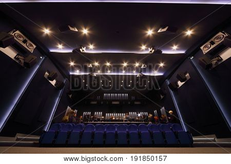 MOSCOW - DEC 9, 2016: Journalists look around new sound studio in Mosfilm cinema studio