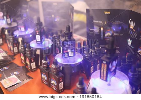 MOSCOW - DEC 10, 2016: E-cigarettes advertising at Vapexpo MOSCOW - international exhibition and conference of VAPE-industry in Sokolniki Exhibition Center