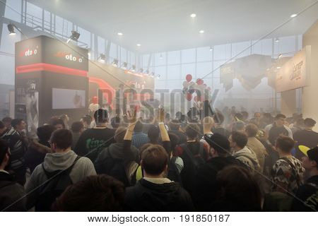 MOSCOW - DEC 10, 2016: Show at Vapexpo MOSCOW - international exhibition and conference of VAPE-industry in Sokolniki Exhibition Center