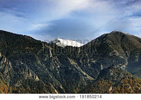 Image of the Pic du Canigou during the late autumn season.The Canigou is a mountain located in the Pyrenees Orientales Mountains (Catalan Pyrenees) in the southern France.The height of the peak is 2784.66 m.