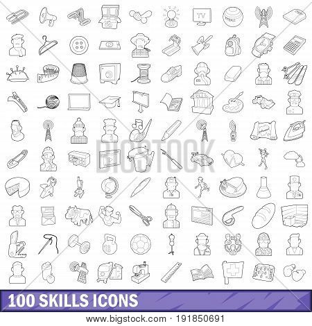 100 skills icons set in outline style for any design vector illustration