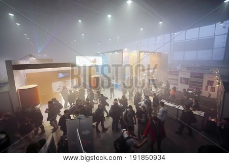 MOSCOW - DEC 10, 2016: Exhibition Vapexpo MOSCOW - international exhibition and conference of VAPE-industry in Sokolniki Exhibition Center