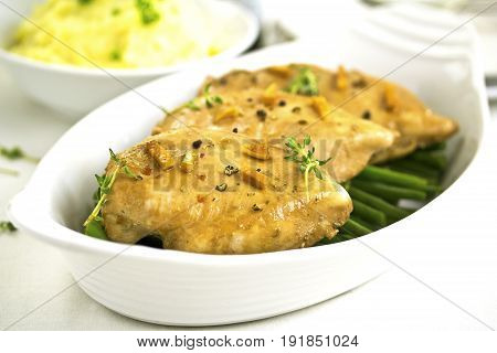 Soy Sauce Chicken Breast with mashed potatoes