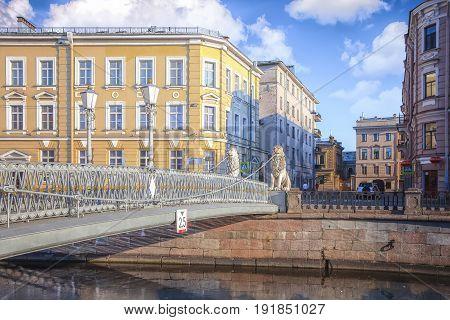 Lion Bridge crosses the Griboedov Canal in Saint Petersburg Russia