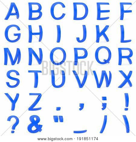 Blue font from curved 3D capital letters rendered with soft shadows on white background