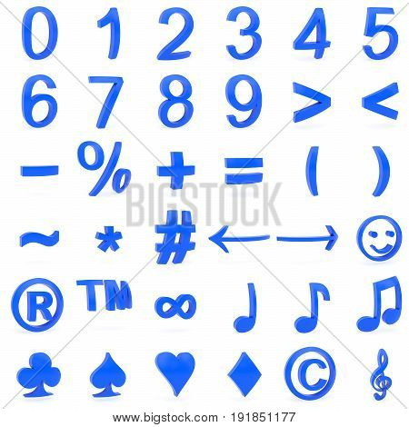 Blue curved 3D numbers and symbols rendered with soft shadows on white background