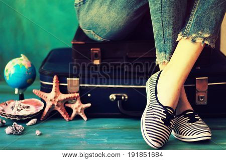Summer Travel And Vacation Concept,young Woman Packing Suitcase At Home