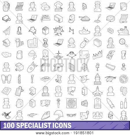 100 specialist icons set in outline style for any design vector illustration