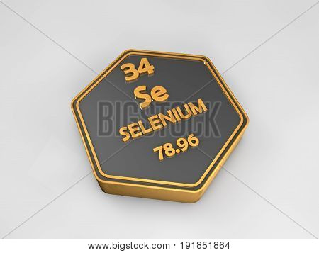 Selenium - Se - chemical element periodic table hexagonal shape 3d render