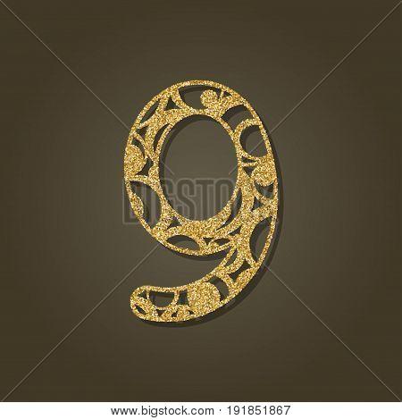 Number nine for laser cutting.Round gold pattern. Vector illustration.