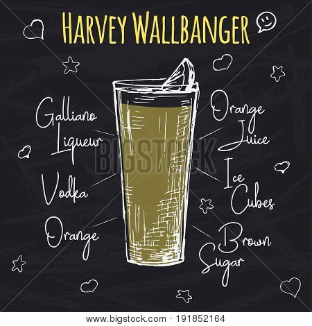 Simple recipe for an alcoholic cocktail Harvey Wallbanger. Drawing chalk on a blackboard. Vector illustration of a sketch style.