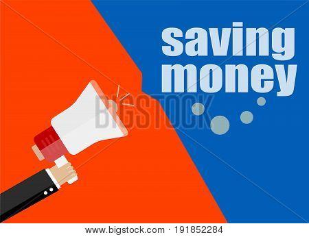 Flat Design Business Concept. Saving Money. Digital Marketing Business Man Holding Megaphone For Web