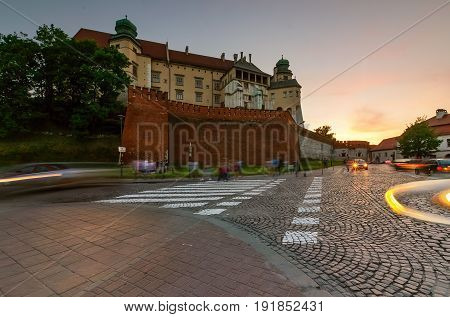 Crossroads near Wawel Castle in old town of Krakow Poland Europe.