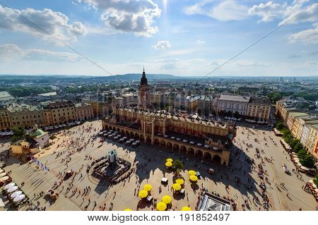 Top view of the main square of Krakow Poland. in a sunny day.
