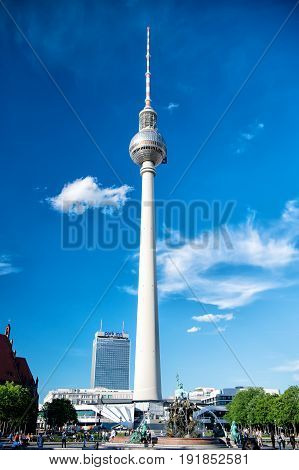 Berlin Germany-May 31 2017: view of Berlin skyline with famous TV tower at Alexanderplatz and dramatic cloudscape Germany. Berlin